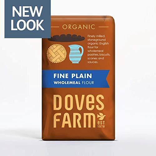 Doves Farm Organic Fine Plain Wholemeal Flour Stoneground 1kg (Pack of 5)