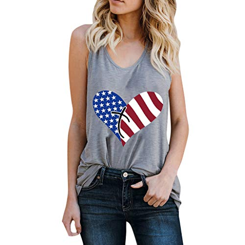 Racerback Heart - 4th of July Shirts for Women Racerback Yoga Shirt Summer Heart Printed Sleeveless Casual Tank Tops (Gray, S)