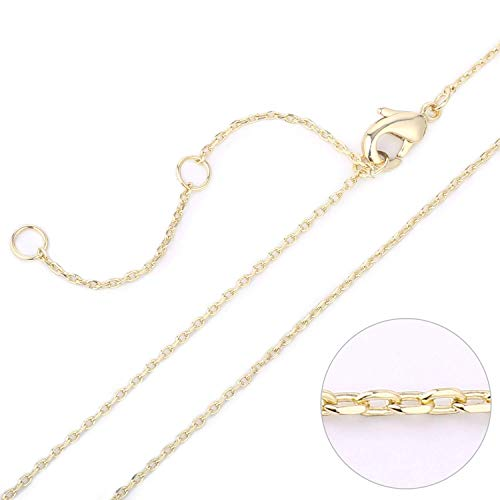 14K Real Gold Cable Chain Necklace with Extension Chain for Women Girls, Size 16