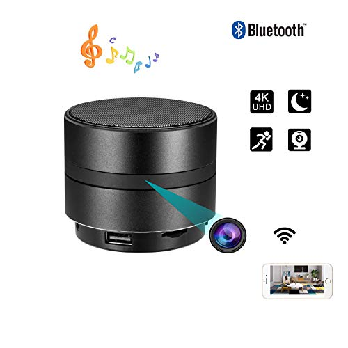 Spy Hidden Camera HD 1080P XDMYWH WiFi Night Vision Bluetooth Speaker Music Player Nanny Cam Motion Detection Loop Recording Real-Time View Monitoring for Home Security Office (Hd Wifi Nanny Cam)