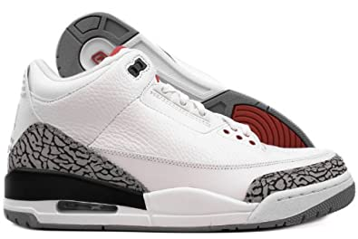 more photos f9d04 72787 Amazon.com   Jordan Nike Air 3 Retro III 2011 White Red Grey Mens  Basketball Shoes 136064-105   Shoes