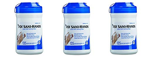 Sani Professional P13472 Sani-Hands ALC Instant Hand Sanitizing Wipes, 7.5x6, White, 135 per Canister (Case of 12) (3-(Pack))