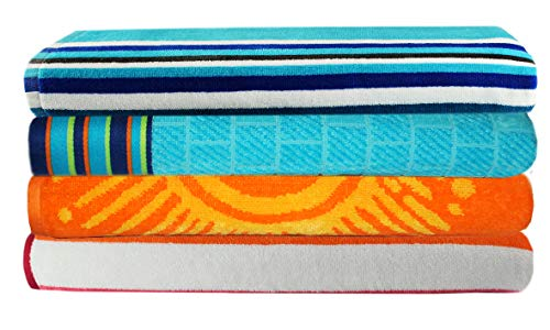 Cotton Craft - 4-Pack XL Assorted Velour Beach Towels - 39x68 Inches - 100% Cotton - Family Variety Towel Set