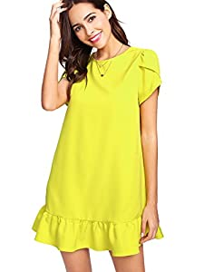 Verdusa Women's Round Neck Petal Short Sleeve Ruffle Hem Tunic Dress
