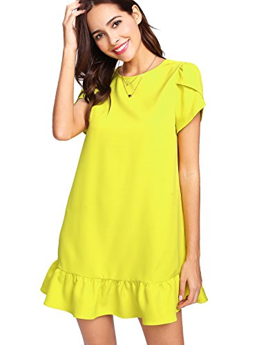 Verdusa Women's Round Neck Petal Short Sleeve Ruffle Hem Tunic Dress Yellow M ()