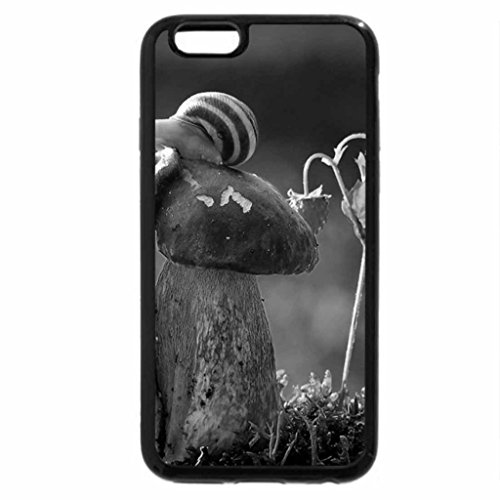 iPhone 6S Plus Case, iPhone 6 Plus Case (Black & White) - snail green cute mushroom nature