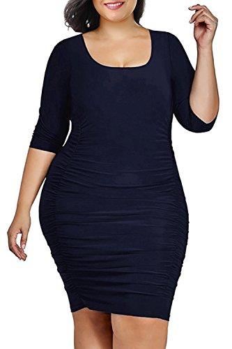 Nemidor Women's Square Neckline Wrap Ruched Waisted Plus Size Midi Bodycon Dress (Navy, 26W)