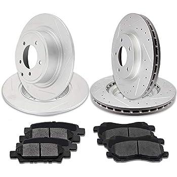 Front /& Rear Drill Slot Brake Rotors /& Ceramic Pads For Chrysler 200 Avenger