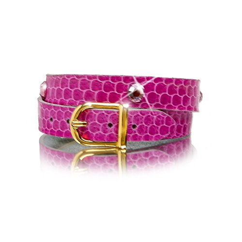 (Leather Wrap Bracelet in Pink Snakeskin, with Light Amethyst Swarovski Crystals, Light Grey French Goatskin chèvre Sully Lining and Gold Color Buckle)