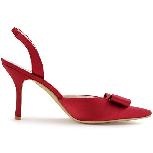 ElegantPark HC1404 Zapatos de tacón Talón abierto Arcos raso zapatos del partido mujer talla Vino Tinto