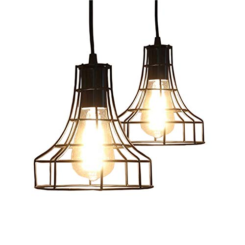 2-Pack E26 Vintage Metal Cage Pendant Lamps Lighting Chandelier Light Industrial Loft Retro Metal Wire Cage Black Chandelier Hanging E26/E27 Pendant Light (Big 4 Light Pendant)