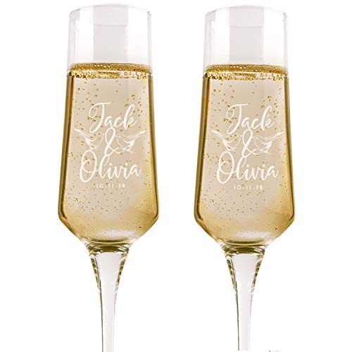 Set of 2, Personalized Wedding Champagne Flutes, Birds, Toasting Glasses for Bride and Groom, Wedding Toast Glasses - Wedding Registry By Brides Name, Wedding Gift