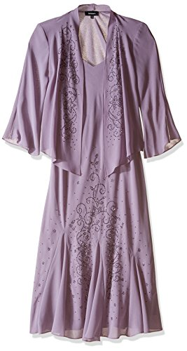 (R&M Richards Women's Two Piece Beaded Georgette Jacket Dress, Orchid, 12 )