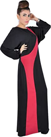 Abaya With Pink Fabric Design In Front