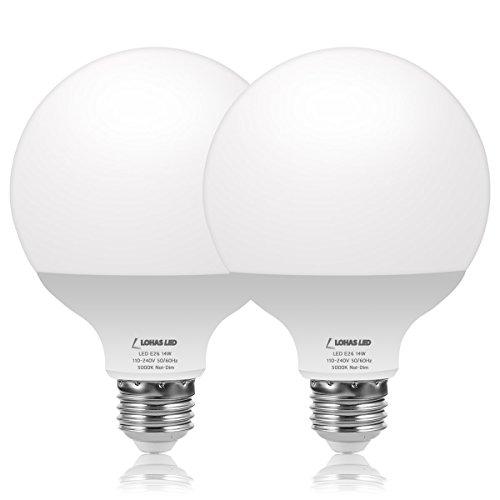 LOHAS G30 LED Globe Light Bulb, 14W(100W Equivalent) 1250 Lumens LED, E26 Medium Base, Daylight White 5000K, High Brightness Pendant Lighting for Dinning Garage Lighting Kitchen Lights, 2 Pack.