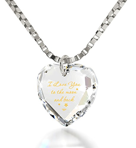I Love You to the Moon and Back Tiny Crystal Heart Necklace 24k Gold Inscribed, 18
