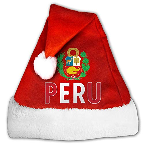 (Red And White Christmas Hat, Cute Peru Flag Peruvian Candy Hat For Childrens And Adults)