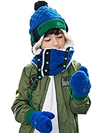 adc521918d1 Little Boys Girls Toddlers Winter Warm Lined Fleece Flap Hat Scarf Mittens  Set