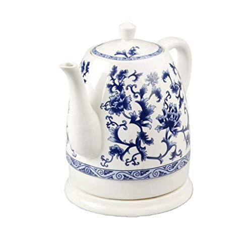 HO Electric Ceramic Cordless Blue and White Porcelain Kettle Teapot 1.5L Jug Boils Water Fast for Tea Coffee Soup Oatmeal