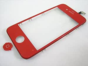 Red Touch Screen Digitizer Front Glass Faceplate Lens Part Panel with Metal Frame Cover Case for Apple iPhone 4 4G G GSM AT&T ~ Mobile Phone Repair Parts Replacement