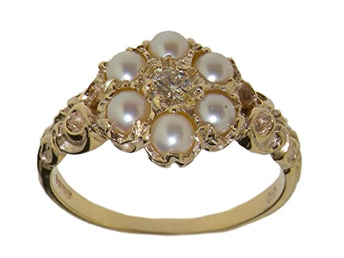 LetsBuyGold 14k Yellow Gold Cultured Pearl & Real Diamond Vintage Anniversary Ring - Size 5.25 (0.09 cttw, H-I Color, I2-I3 Clarity)