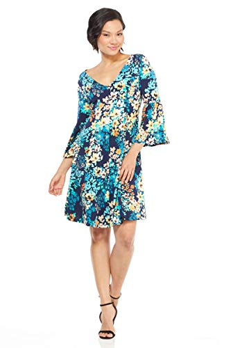 London Times Women's 3/4 Bell Sleeve V Neck FIT and Flare Dress, Navy Peach, 16 -