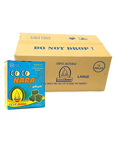 CocoNara Coconut Coco Nara Coconara Premium Lighting Hookah Hokah Charcoal Coals- 1 Case of 12 Boxes(120pcs Per Box) by CocoNara