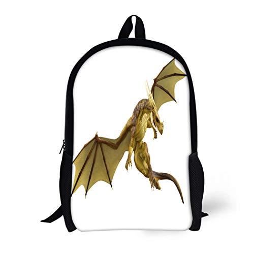(Pinbeam Backpack Travel Daypack Fire Dragon 3D Medieval White Fantasy Fairy Monster Waterproof School)