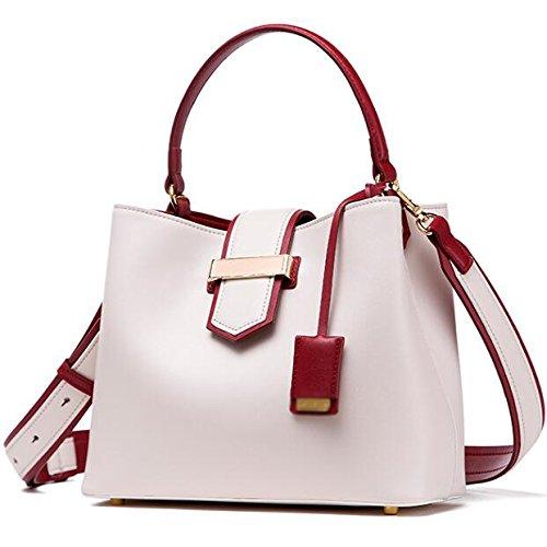 Bag Shoulder Crossbody Colorblock Bags Real Black capacity Leather Handbag Women's High White Fashion xavqPBaHwn
