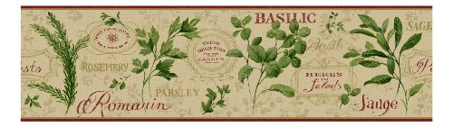 York Wallcoverings KITCHEN & BATH AROMATIQUE BORDER tan, red, light taupe, green, golden glow