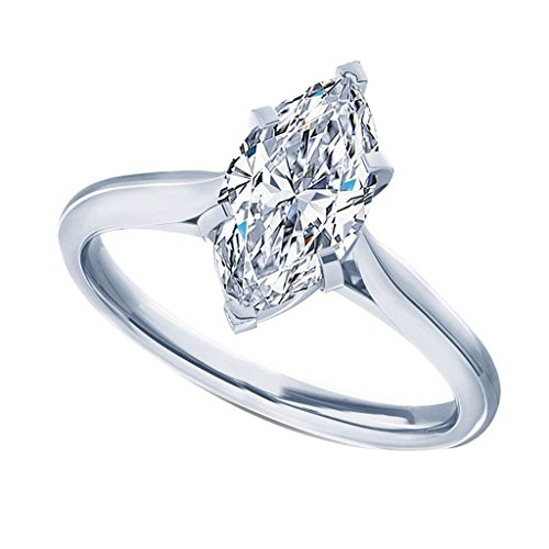 0.50 Ct Marquise Cut Solitaire Diamond Engagement Wedding Ring For Her In 14K White Gold (HI Color, I1 Clarity)