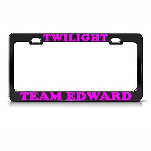 Twilight Team Edward Black Metal Heavy Duty License Plate Frame SUV Tag Border Perfect for Men Women Car garadge Decor