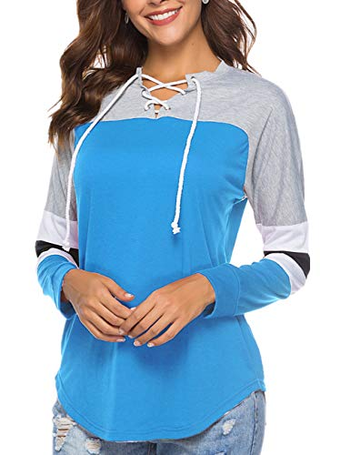 (YOUCOO Women's Winter T Shirt Casual Loose Tunic Top Color Block Striped Baseball Blouse Blue)