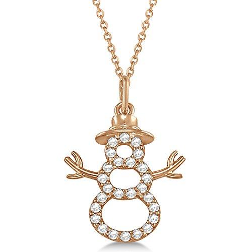 Snowman Diamond Necklace Pendant 14k Rose Gold (0.13ct)