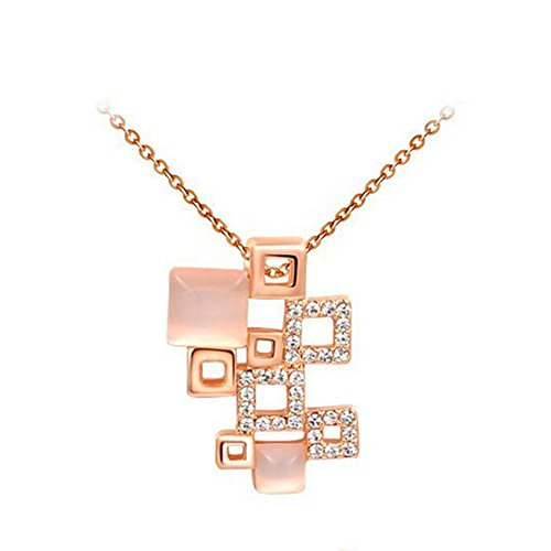 (KaiSasi Womens Rose Gold Pendant Chain More Square Composition)