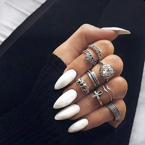24Pcs 12 Different Sizes Solid Color White Stiletto False Nails Long Full Cover Fake Nails -