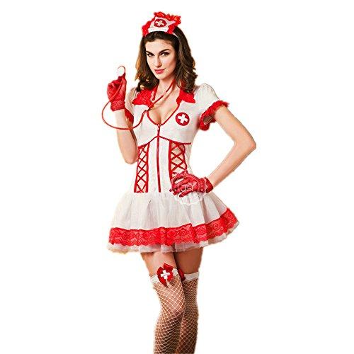 ReachMe Sexy Nurse Outfit Seductive Lingerie Halloween Zombie Nurse Costumes(Style 1) (Sexy Zombie Nurse Costume)