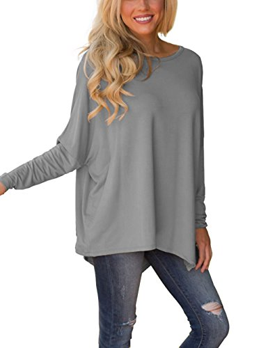 - XUERRY Women Batwing Sleeve Pullover Dolman Tops Off Shoulder Loose Blouses(A,Grey)