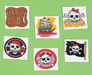 36 rosa purpurina para disfraz de Jack Sparrow para niños tatuajes ...