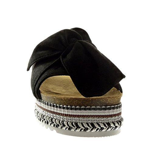 Angkorly Tal Mujer On Zapatillas Pajarita Slip Sandalias Plataforma Moda Trenzado qxTqwBrU