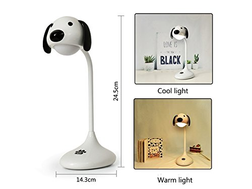 Yunqir Compatible Cute Dog Touch Table Lamp USB Charging LED Reading Light (White) by Yunqir (Image #4)
