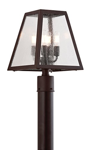 Troy Lighting Amherst 4-Light Outdoor Post Lantern - River Valley Rust Finish with Clear Seeded Glass - Rust Outdoor Transitional Four
