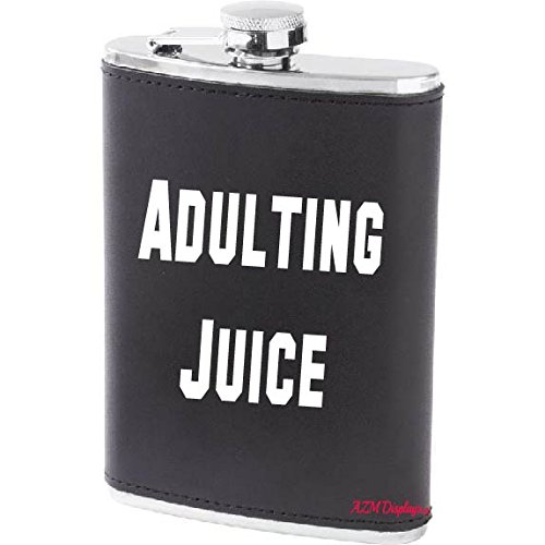 Adulting Juice Alcohol Flask Hip Liquor Container 8oz Screw Cap Pocket Funny Gift (Leather (Funny Hip Flask)