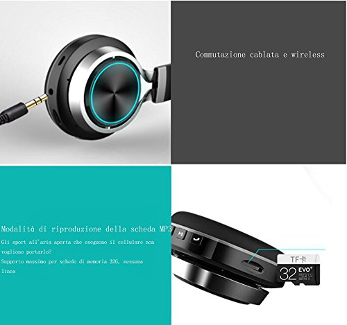 LILINA Wireless Light Bluetooth Headset Head-Mounted Game Sports Running Headset Computer Mobile Phone Universal Long Standby Card Music Bass Can Answer The Phone,Blackred by LILINA (Image #3)