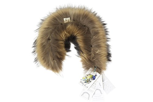 MILLY REICH Raccoon fur hood trim for coat with loops and buttons (natural color) (4. CRAZY THICK AND WIDE) by Milly Reich (Image #1)