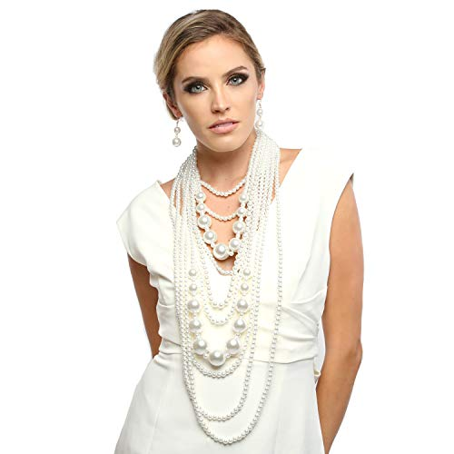 Fashion 21 Women's Chunky Multi-Strand Simulated Pearl Statement Necklace and Earrings Set in Cream Color (White - Style B)
