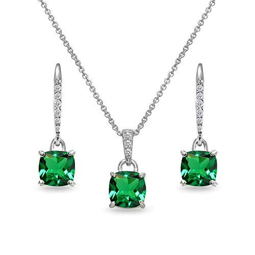 Sterling Silver Simulated Emerald Cushion-Cut Solitaire Dangle Leverback Earrings & Pendant Necklace Set