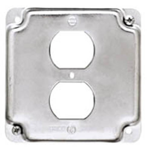 Hubbell-Raco 902C 1 Duplex Receptacle 4-Inch Square Exposed Work - Raco Cover