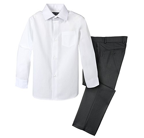 Pants Dress Charcoal Gray (Spring Notion Boys' Dress Pants and Shirt 12 Charcoal/White)