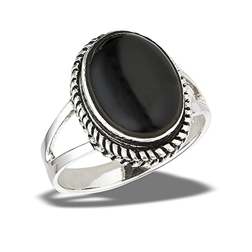 Large Simulated Black Onyx Bali Rope Halo Ring New .925 Sterling Silver Band Size 7 - Large Onyx